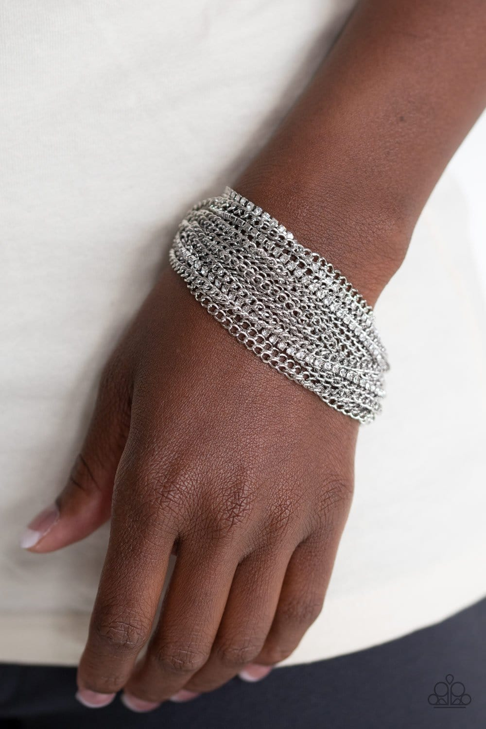 Paparazzi: Pour Me Another - White Rhinestone Bracelet - Jewels N' Thingz Boutique