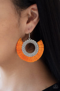 Fringe Fanatic - Neon Orange Earrings: Paparazzi