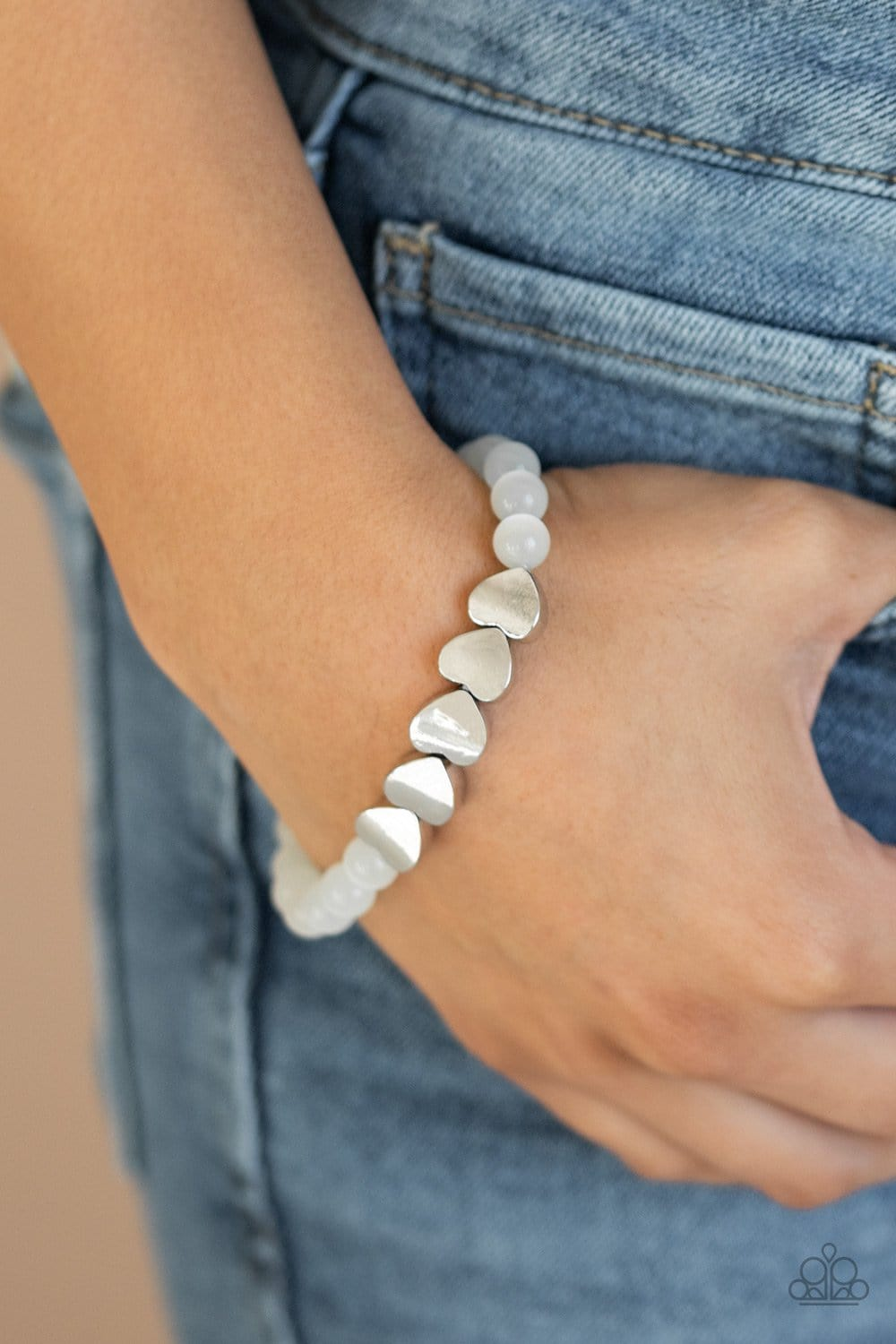 Heart-Melting Glow - White Heart Bracelet: Paparazzi