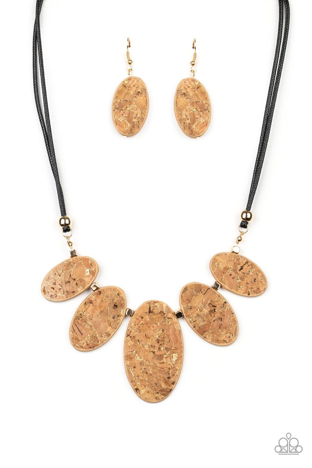 Paparazzi: Natures Finest - Gold Cork-Like Necklace