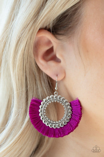 Fringe Fanatic - Neon Purple Earrings: Paparazzi