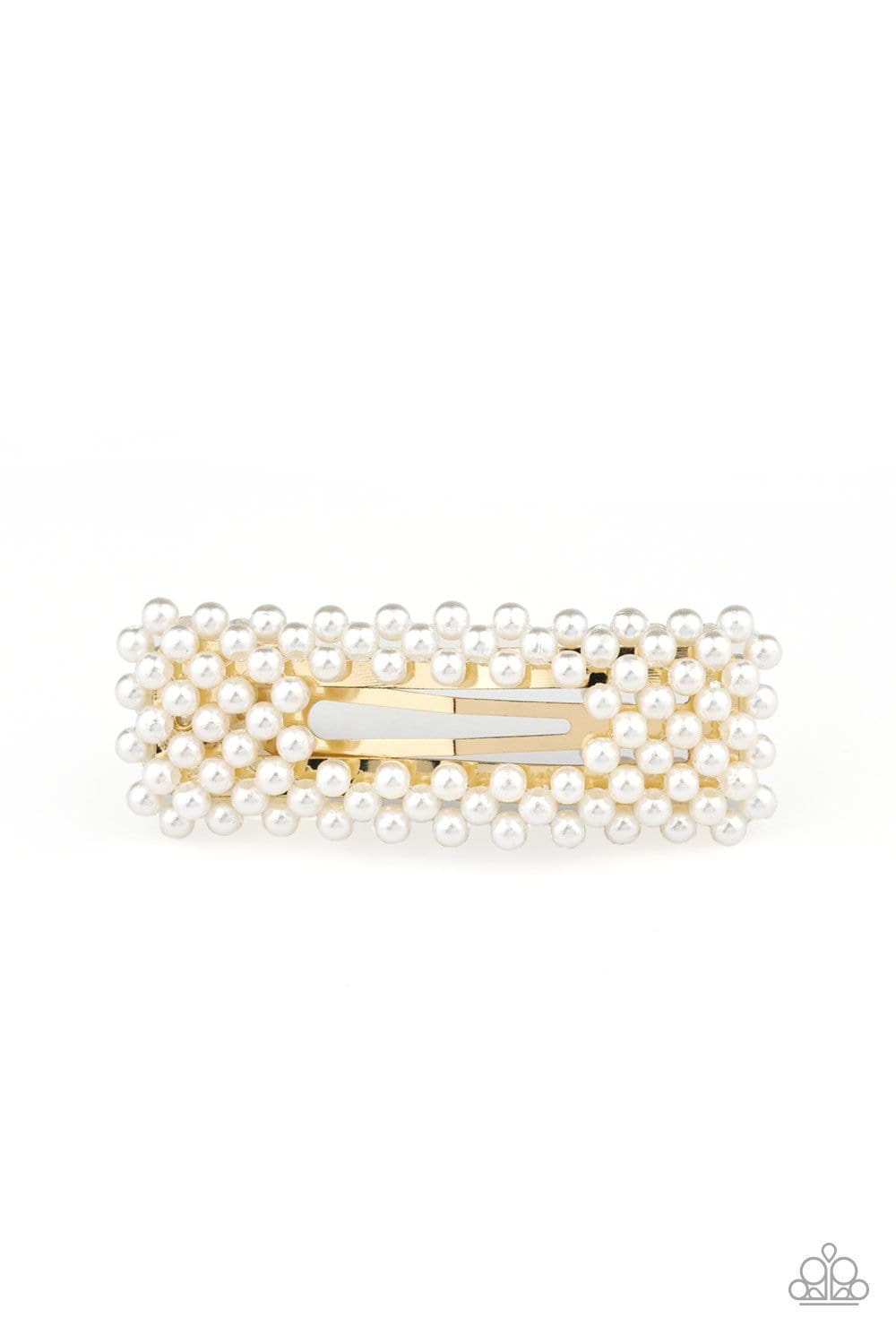 Clutch Your Pearls - Gold Barrette: Paparazzi - Jewels N' Thingz Boutique