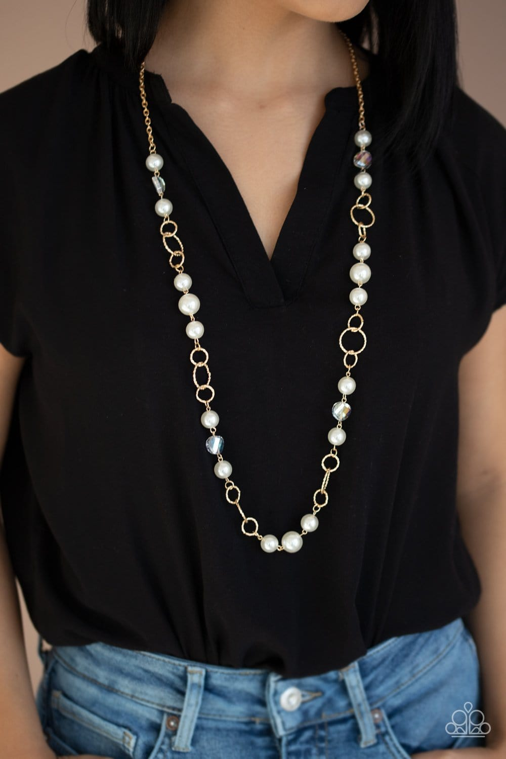 Paparazzi: Prized Pearls - Gold Pearl Necklace
