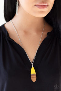 Paparazzi: Going Overboard - Yellow Wooden Necklace