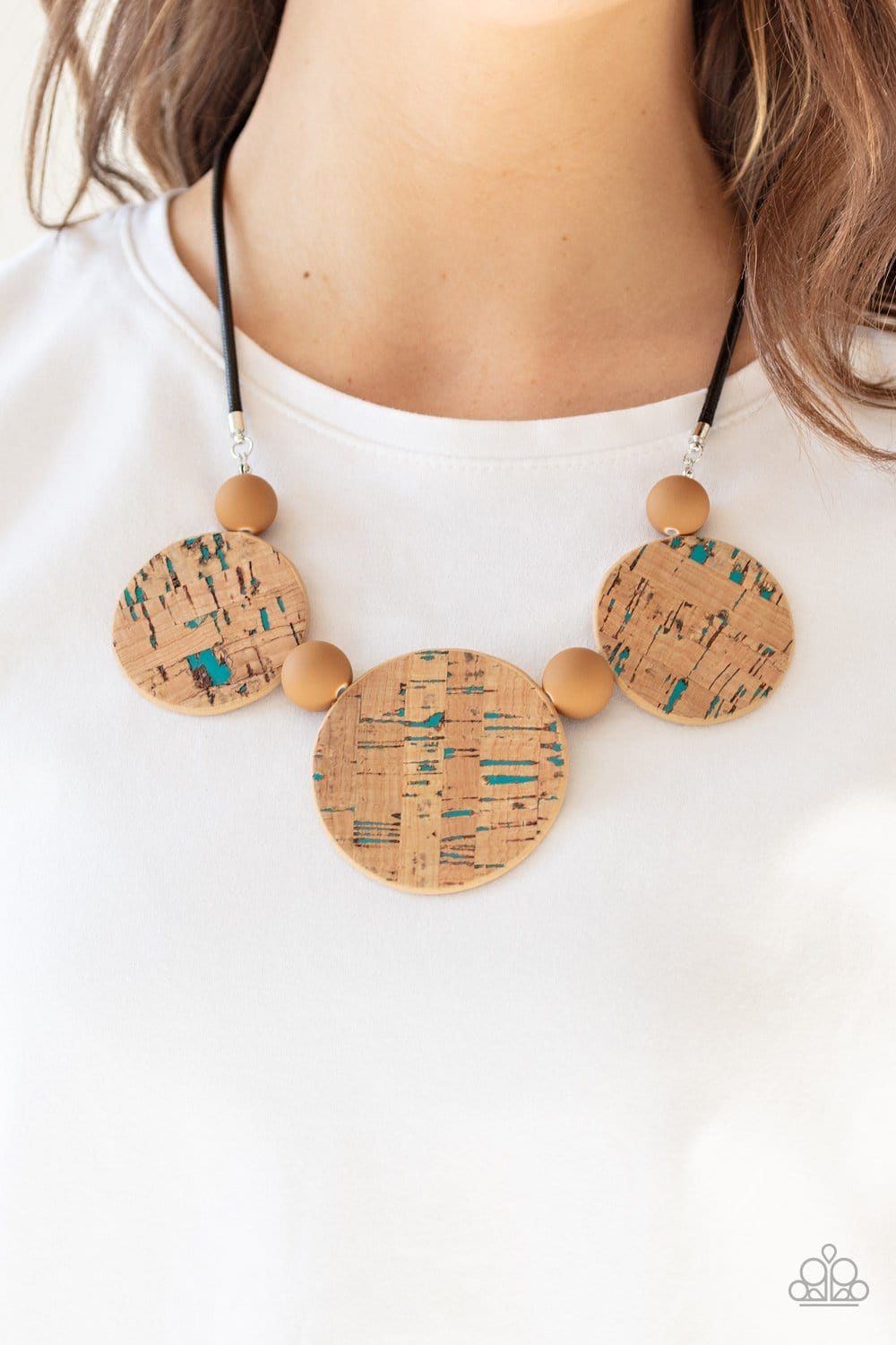 Paparazzi: Pop The Cork - Blue Cork-Like Necklace - Jewels N' Thingz Boutique
