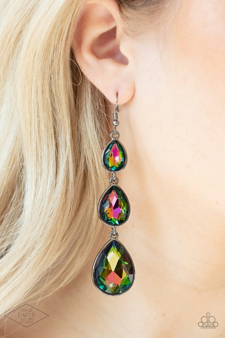 Paparazzi Accessories: Metro Momentum - Multi Oil Spill Teardrop Rhinestone Earrings