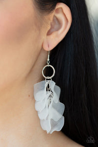 Paparazzi: Glass Gardens - Frosty White Acrylic Earrings