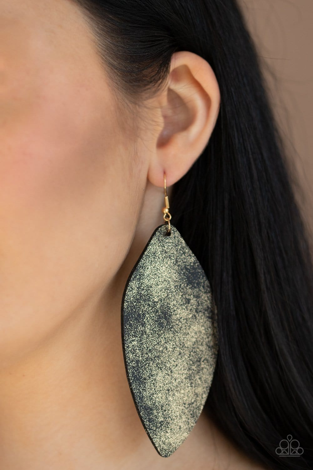 Serenely Smattered - Gold/Black Leather Earrings: Paparazzi