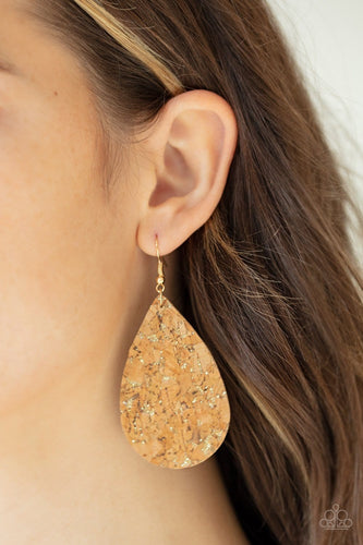 CORK It Over - Gold Earrings: Paparazzi