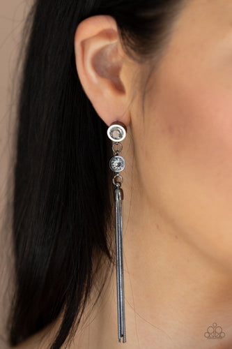Paparazzi: Tassel Twinkle - Black Rhinestone Earrings