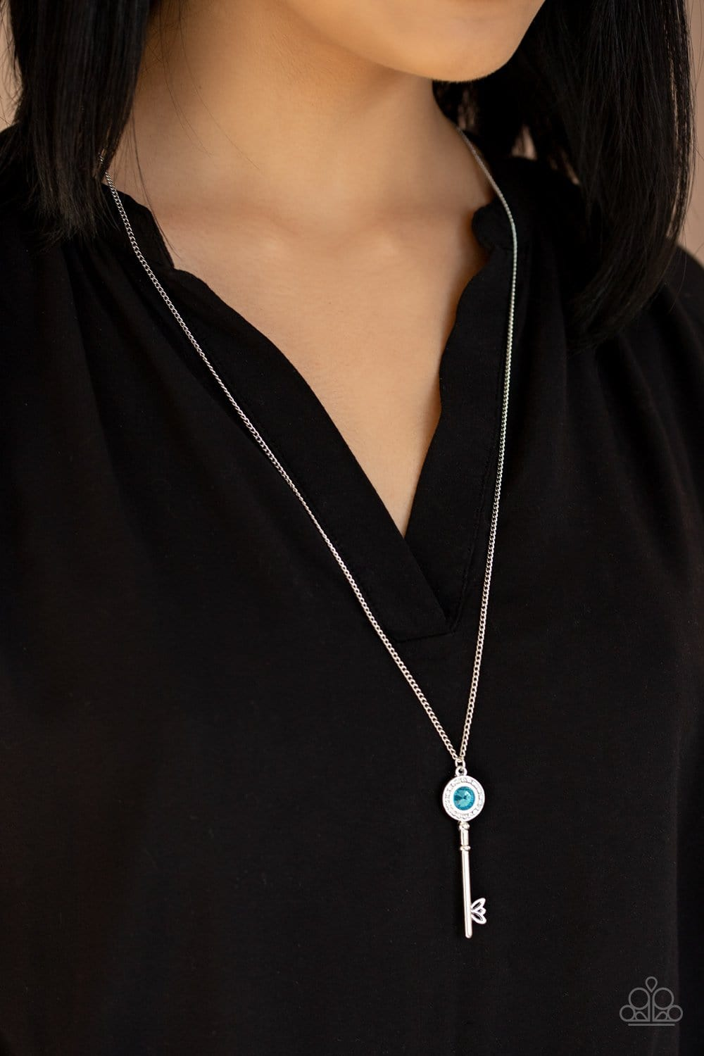 Paparazzi: Secret Shimmer - Blue Key Necklace - Jewels N' Thingz Boutique