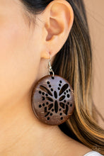 Load image into Gallery viewer, Bali Butterfly - Brown Wooden Earrings: Paparazzi