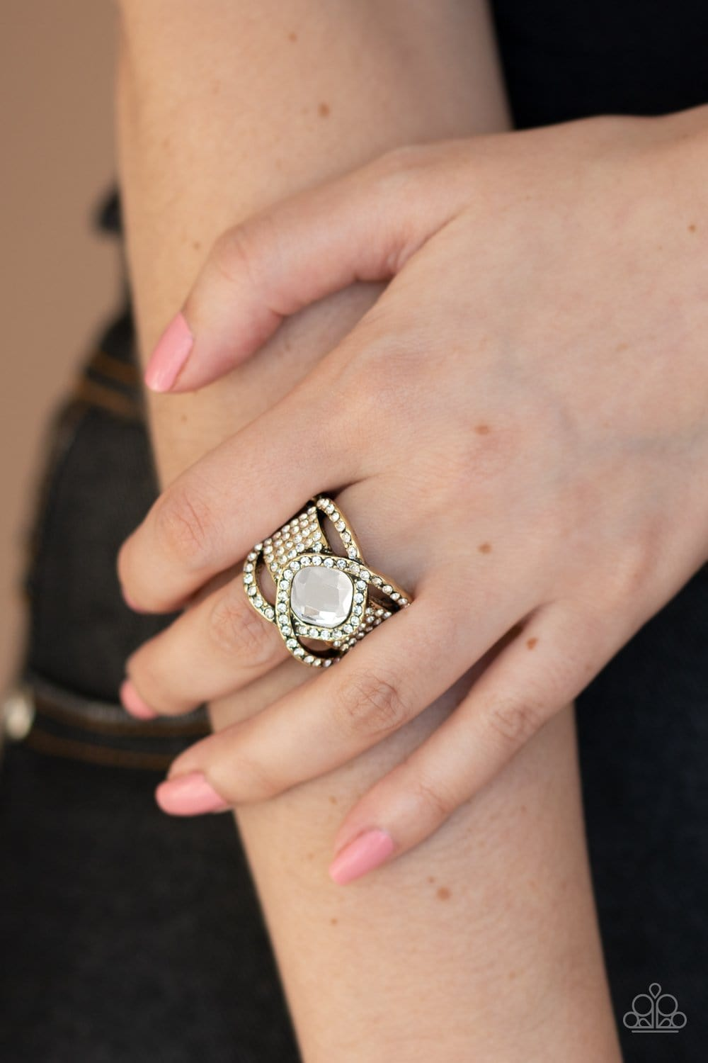 Paparazzi: Triple Crown Twinkle - Brass Rhinestone Ring