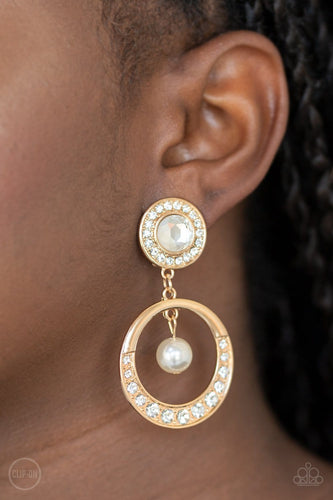 Paparazzi: Regal Revel - Gold Clip-on Earrings