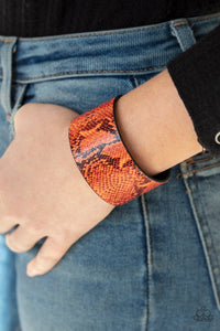 Paparazzi: Its a Jungle Out There - Orange Neon Python Bracelet - Jewels N' Thingz Boutique