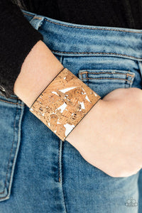 Paparazzi: Cork Congo - White Leather Band Bracelet - Jewels N' Thingz Boutique