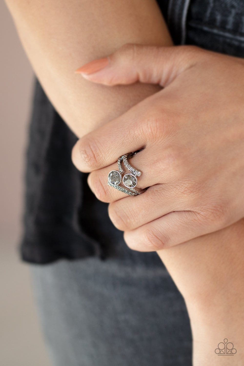 Paparazzi: Over The Top Glamour - Silver Rhinestone Ring