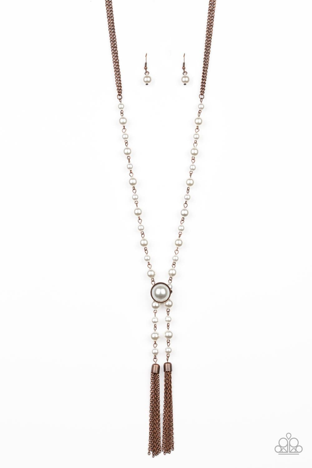 Paparazzi: Vintage Diva - Copper Pearl Tassel Necklace - Jewels N' Thingz Boutique