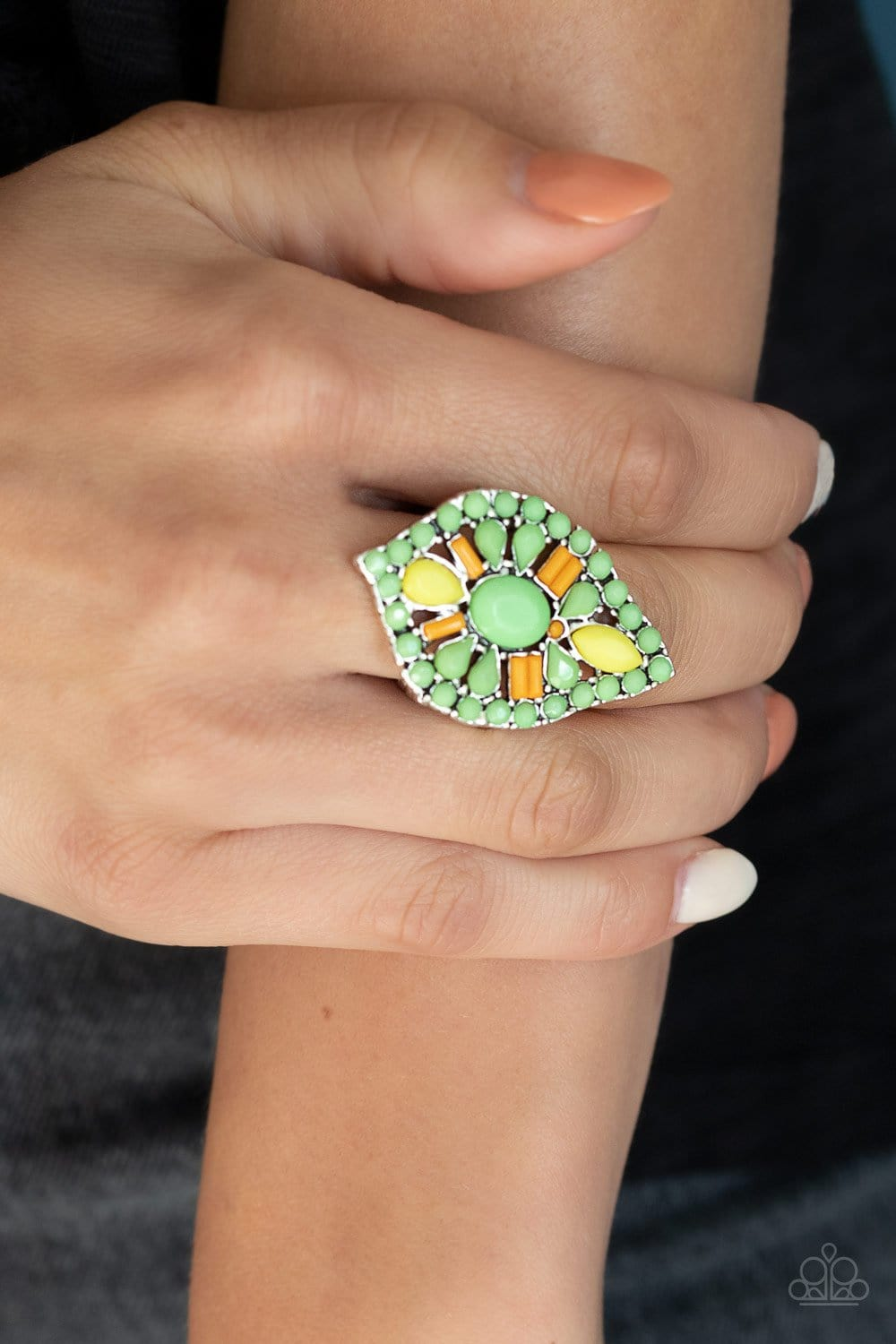 Paparazzi: Jungle Jewelry - Green Beaded Ring