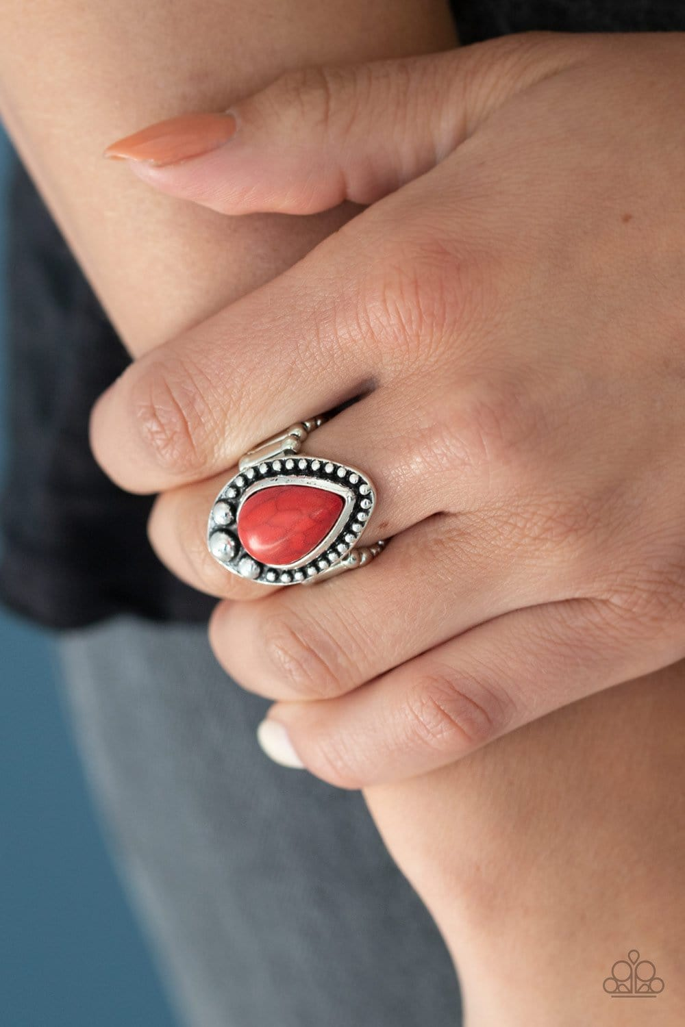 Paparazzi: Backroad Bauble - Red Teardrop Ring