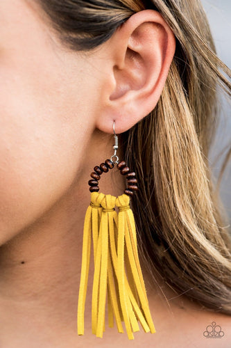 Paparazzi: Easy To PerSUEDE - Yellow Wooden Fringe Earrings - Jewels N' Thingz Boutique
