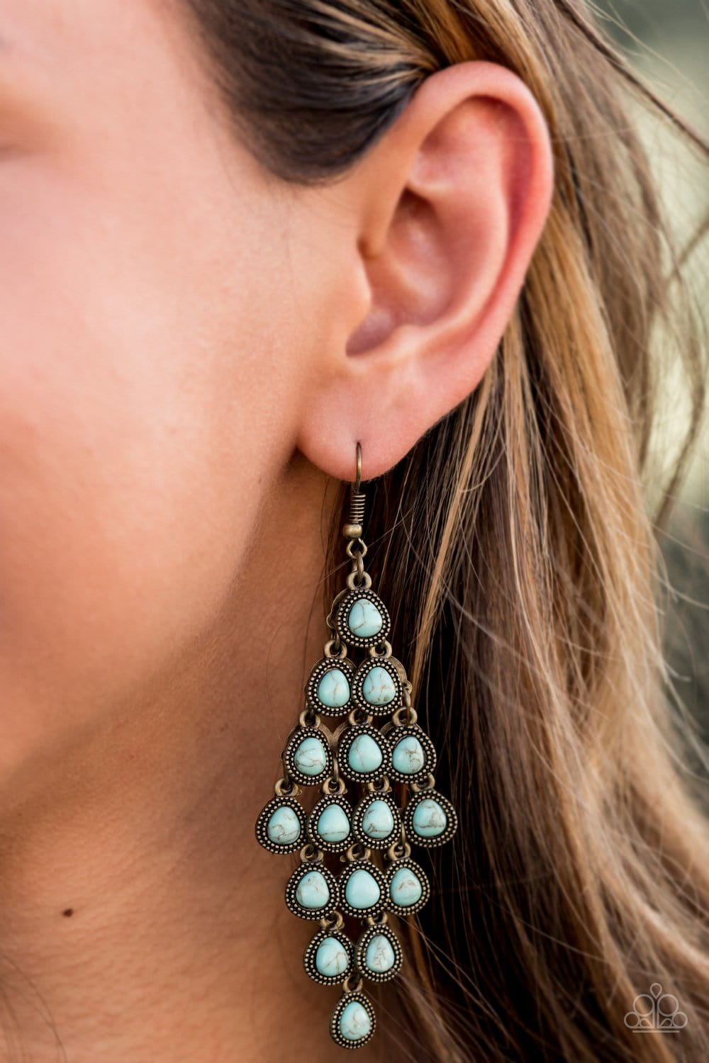 Paparazzi: Rural Rainstorms - Brass/Turquoise Earrings