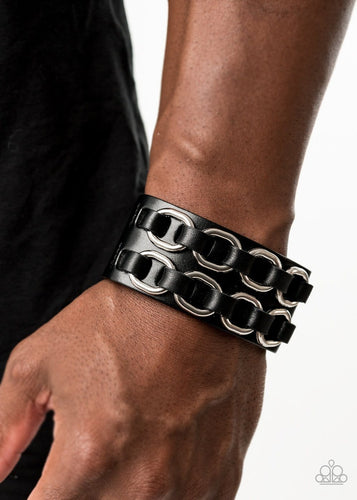 Paparazzi: Throttle It Out - Black Leather Band Bracelet - Jewels N' Thingz Boutique