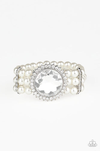 Paparazzi: Speechless Sparkle - White Pearl Bracelet - Jewels N' Thingz Boutique
