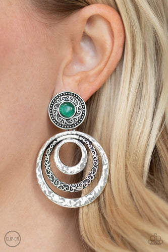 Paparazzi: Bare Your Soul - Green Clip-On Earrings