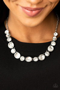 Paparazzi: Girl's Gotta Glow - White Rhinestones Necklace - Jewels N' Thingz Boutique