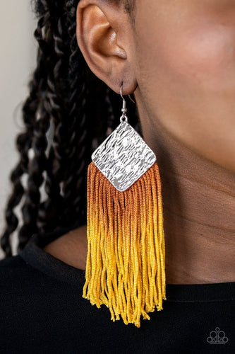 Paparazzi: DIP The Scales - Yellow Fringe Earrings