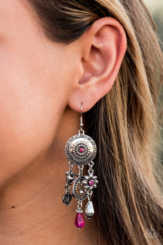 Paparazzi: Springtime Essence - Pink Rhinestone Earrings