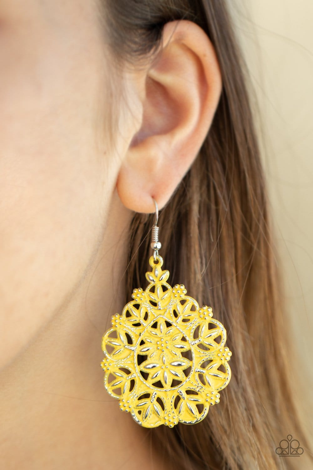 Paparazzi:   Floral Affair - Yellow Earrings - Jewels N' Thingz Boutique