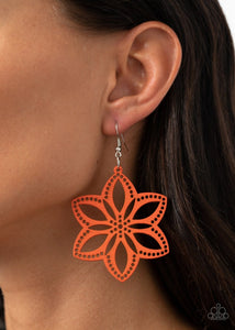 Paparazzi: Bahama Blossoms - Orange Wooden Earrings