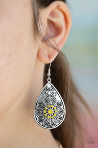 Paparazzi: Banquet Bling - Yellow Teardrop Earrings
