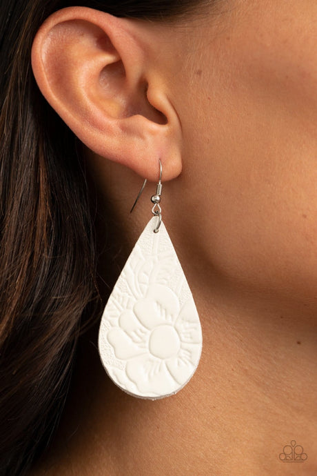 Paparazzi Accessories: Beach Garden - White Leather Earrings