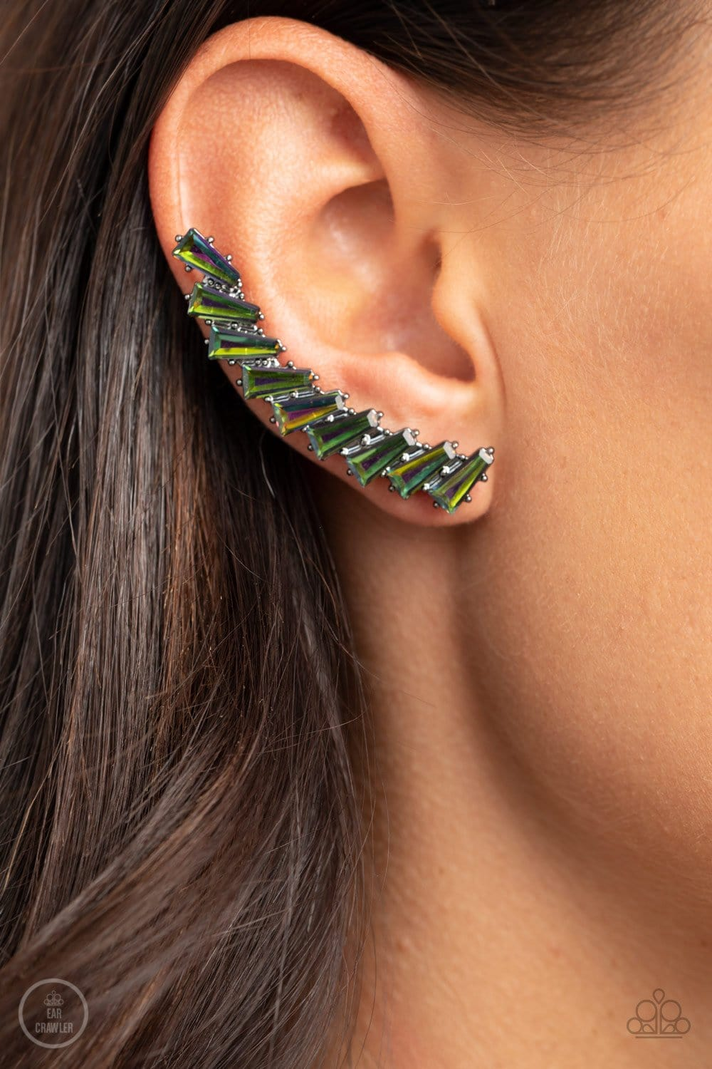Paparazzi Accessories: I Think ICE Can - Multi Oil Spill Rhinestone Ear Crawlers