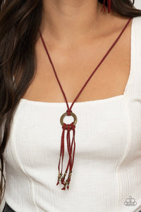 Paparazzi Accessories: Feel at HOMESPUN - Red Suede Necklace