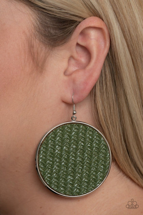 Paparazzi Accessories: Wonderfully Woven - Green/Olive Oversized Earrings