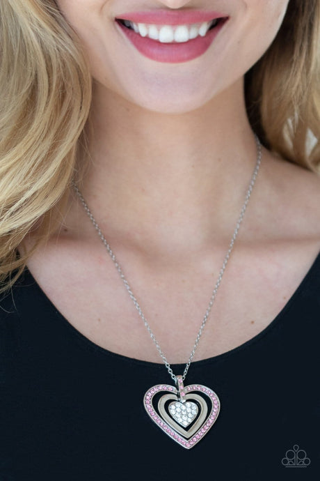 Paparazzi Accessories: Bless Your Heart - Pink Rhinestones Necklace
