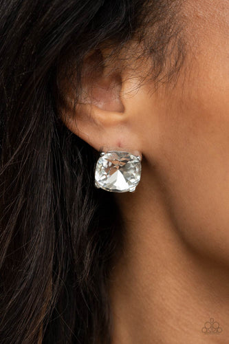 Paparazzi Accessories: Royalty High - Oversized White Gem Earrings