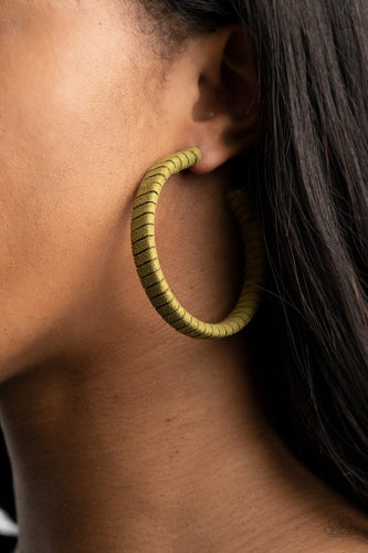 Paparazzi Accessories: Suede Parade - Green Hoop Earrings