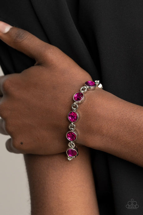 Paparazzi Accessories: First In Fashion Show - Pink Rhinestone Bracelet