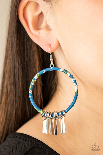 Paparazzi Accessories: Garden Chimes - Blue Hoop Earrings