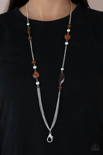 Paparazzi Accessories: Spectacularly Speckled - Brown Acrylic Lanyard