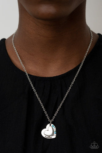 Paparazzi Accessories: Happily Heartwarming - Blue Iridescent Mother's Day Necklace