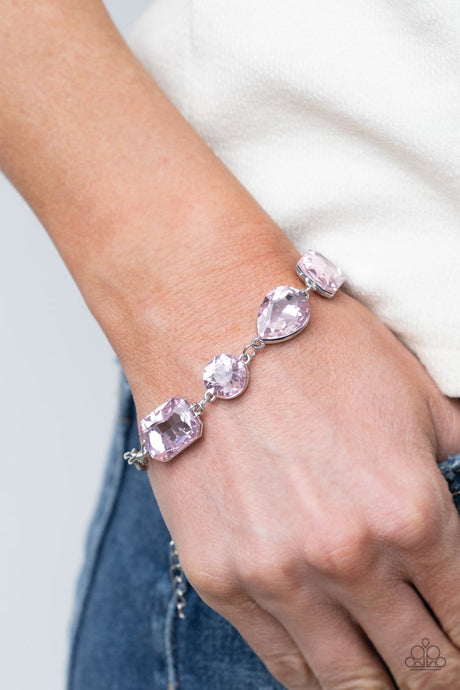 Paparazzi Accessories: Cosmic Treasure Chest - Pink Rhinestone Bracelet