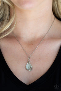 Paparazzi: Tell Me A Love Story - White Teardrop Necklace - Jewels N' Thingz Boutique