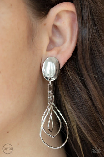 Metallic Foliage - Silver Clip-On Earrings: Paparazzi