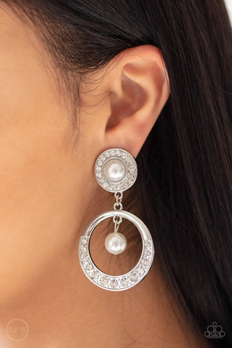 Paparazzi: Royal Revival - White Clip-on Earrings